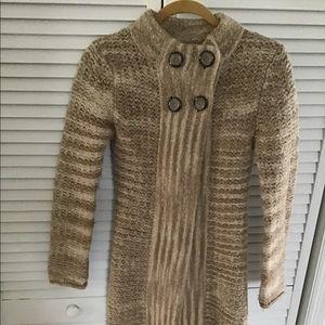 Knit wool blend long cardigan